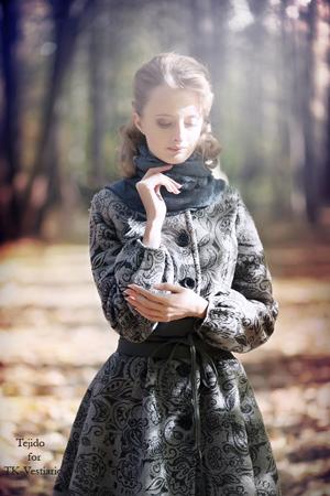 теплое пальто с  рисунком