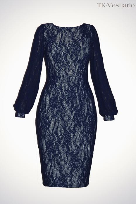 Платье из шерсти с кружевом
