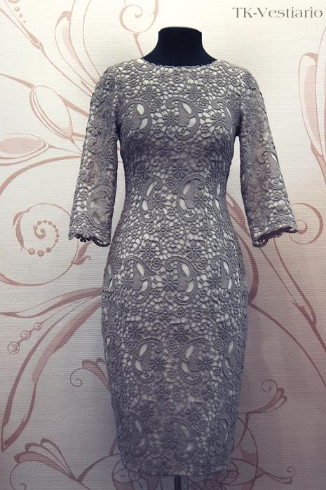 Платье из шерсти с кружевом TK-Vestiario