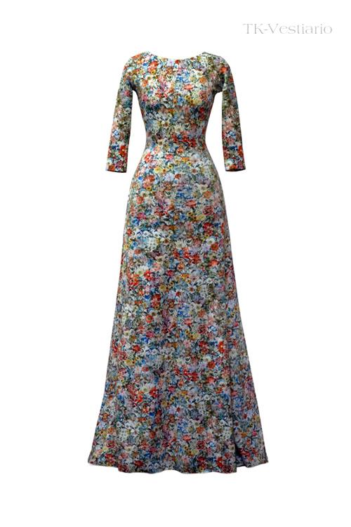 Длинное платье из неопрена с цветами