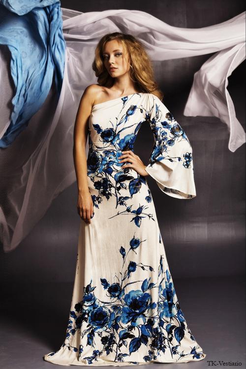 Длинное платье с одним рукавом TK-Vestiario