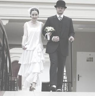 Свадебное платье в стиле 20-х годов.