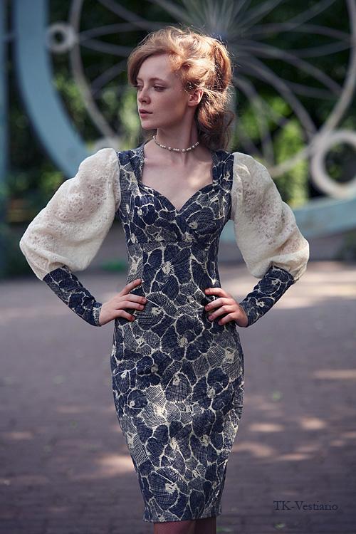 шерстяное платье с цветами Таисия Кирцова TK-Vestiario