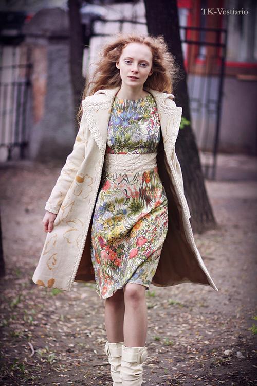шерстяное пальто с цветами Таисия Кирцова TK-Vestiario